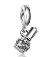 beads nail polishes - Wholesale10pcs Finger Nail Polish Bottle Charm Silver European Charms Bead Fit Pandora Snake Chain Bracelet Fashion DIY Jewelry