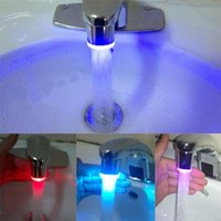 Wholesale 3 Colors RC F03 RGB Temperature Sensor Control Faucet Water Glow Shower LED Taps Free Shiping
