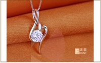 Wholesale Lingdong Fashion drop of water wNecklaces Pendants Genuine Sterling Silver Necklace For Women Wedding Gift Fr