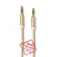 achat en gros de audio aux or de câble-3.5mm 8 couleurs de luxe 3.3ft AUX câble plaqué or mâle-mâle connecteur métallique câble audio auxiliaire câble pour casque écouteurs téléphones cellulaires
