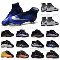 Wholesale 2016 New oriGInal mens high ankle football boots ElasTico CR7 MercUrial SupERfly V shoes HERITAGE FG ProXImo MerCUrialX IC TF soccer cleats