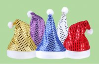 accessories nativity - Deluxe Sequin Santa Hat Christmas Cap hats Accessory for Christmas Nativity Fancy Dress Christmas Gift for adult and child DHL