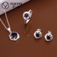 Wholesale blue stone S569 cheap sterling silver jewelry sets inlaid Crystal for women Alahas Sets Purple stone