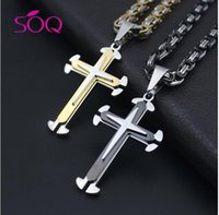 agate cross pendant - HOT SALE High quality three slit titanium steel cross pendant necklace Stainless Steel Cross Couple Necklace Halloween Christmas gifts E314