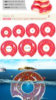 Wholesale 2016 Summer Water Toy Gigantic Donut Swimming Float Inflatable Swimming Ring Adult Pool Floats Colors Strawberry and Chocolate