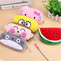 Wholesale 33 designs Big Size cartoon Animal plushPencil bag New Creative Cosmetic pouchclean up bag pencil case school supplies