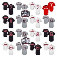 Wholesale 2016 World Series Patch Men s Cleveland Indians Kenny Lofton Francisco Lindor Jason Kipnis Brantley baseball jerseys Stitched