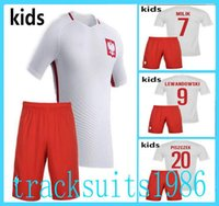 Wholesale 2016 Poland Kids Jerseys child teens Home Away LEWANDOWSKI Polonia camisas Piszczek Milik European Cup Season AAA quality rugby