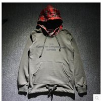 Wholesale superme The latest autumn and winter tide card cooperation plaid long sleeved hooded sweater men cultivating