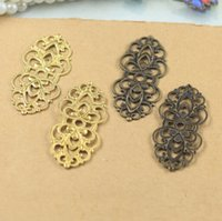 Cheap 100pcs brass bronze color 15*33mm copper filigree wire connector charms for diy jewelry materials