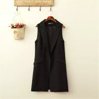 Wholesale Fashion office lady Elegant jackets Vests For Women Sleeveless black Long Outerwear Casual brand colete feminino coats