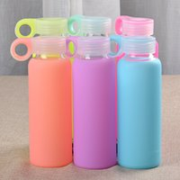 glass water bottles - Candy Colors Creative ml Glass Cup Colored Jelly Mug Silicone Case Cover Poket Water Bottle HY1060