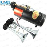 TRANSPORTE LIVRE-King Way-Chrome 12V Dual 2 Air Trumpet Truck Boat Air Horn com 125 PSI 3 litros Air Compressor