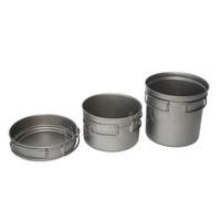 Wholesale 2016 Outdoor camping Super light cooking Titanium pots Titanium cookware sets