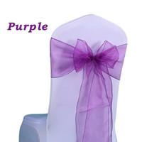 Wholesale 25pc Wedding Chair Bow Organza Sashes Crystal Organza Chair Sashes Bow tie for Wedding Party Banquet Chair Deoc