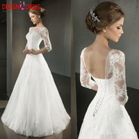Wholesale New Arrival A line Lace Wedding Dresses Vestidos Plus Size Sheer Boat Neck Half Sleeves Appliques Tulle Cheap Bridal Gown