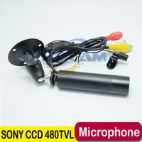 audio cctv shipping - 1 quot Sony CCD TVL Color Mini Bullet CAMERA Outdoor Waterproof CCTV Security Camera Audio Support Microphone Hidden Camera