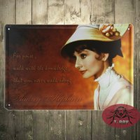 bathroom decor collections - Metal craft Audrey Hepburn painting Tin Signs art wall Metal Hanging poster ART Collection Wall Decor Fit For BAR cm G