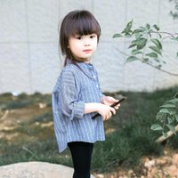 Wholesale 2016 New Fashion Cotton Kids Shirt Long Sleeves Striped Girl Boy Causal Shirts Per in stock MC0071