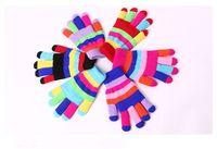 Wholesale Gift children high quality autumn winter outdoor warm women touch kids knited gloves full finger mitten pair