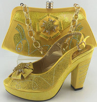 bag strap material - High Quality Dress Shoes And Bag Set PU Leather Material Elegant Italian African Women Shoes And Matching Bags Yellow Colour