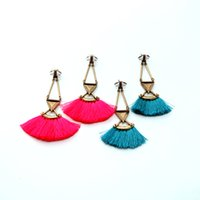 antique neon - White Triangle Stone Inlay Antique Gold Neon Color Tassel Earring Stud Pyramid stud Punk Night Club Woman Fashion Alloy Statement Earring