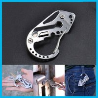 Wholesale Stainless Steel EDC Survival Multi Pocket Gear Tool Folder Key Ring Holder Keychain Clip Buckle Tctical Gear Equipment