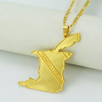 african republics - Big Size Trinidad and Tobago Map Necklace Pendant k Gold Plated Maps for Republic of Trinidad Tobago Jewelry Items