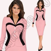 Wholesale 270PCS LJJM99 False Piece Dress Women s Colorblock Business Work Suit Jacket Blazer Office OL Pencil Skirt Dress Joint Long Sleeves
