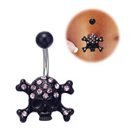 belly best - 3pcs Surgical Steel Black Skull with pink diamond Dangle Body Piercing With Pink Navel Belly button Ring14g Best Gift for Women