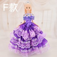 baby doll wedding dresses - 2016 new Wedding dress doll barbie princess dress box dream girl toys gift gift many