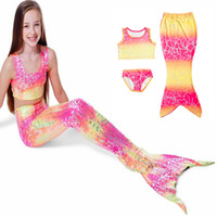 Wholesale Hot Sale Girls Kids Mermaid Swimsuits Set Mermaid Swimmable Bikini Sets Girls Beach Swimwear Mermaid Swimming Costumes Colors DHL Ship