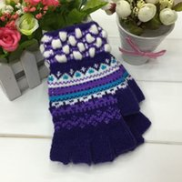 age check - Fashion sweden stylish jaquard middle age kids lady knitted acrylic winter fingless gloves pairs mix colors