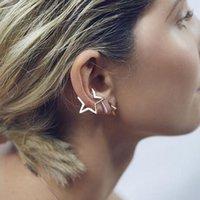 Wholesale E012 k Gold Plating Punk Style Star Design Alloy Clip Earrings Ear Cuff