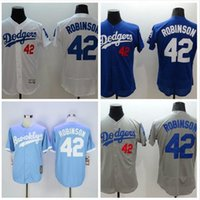 robinson - Mens L A Los Angeles Dodgers Jackie Robinson White Blue Gray Flexbase Jersey Los Angeles Dodgers Jackie Robinson Throwback Jersey
