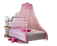 Wholesale Housweety Pink New Round Lace Curtain Dome Bed Canopy Netting Princess Mosquito Net