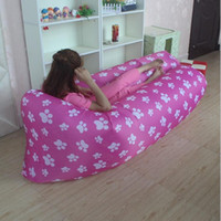 beach design bedding - New arrive print design inflatable sleeping bag air filling lazy lay bag outdoor beach camping sofa lounger bed free DHL shipping