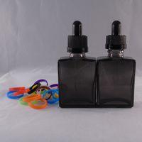 Wholesale E liquid ml Transparent Black Glass Rectangular Square Bottle Dropper Transparent Child Proof Caps Factory