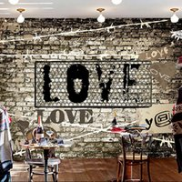 background clothing - Custom photo Silk D wallpaper for walls D Bar clothing shop bedroom TV background wall covering love Graffiti mural wallpaper