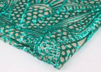 Wholesale Green Sequin Beaded Lace Fabrics Embroidered Guipure Cord Lace Trim Sewing tissue tecido for Wedding Evening Dress yd C23