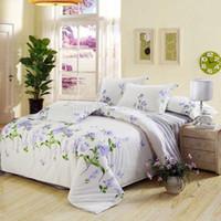 Wholesale fresh cheaper cotton girl s bedding set pc duvet quilt covers flat sheet pillow shams full queen sz green light purple flower