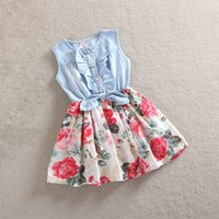 baby clothes denim - Summer Dresses For Girls Cotton Children Clothing Denim Baby Clothes Floral sleeveless Kids Clothes Girls Princess Dress T