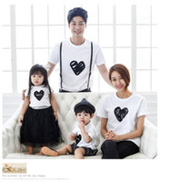 Wholesale 2016 Family wear short sleeve heart pattern T shirt casual Parent child outfits summer family style wear cotton short sleeve T shirt yt