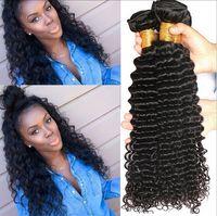 Wholesale 50 discount Brazilian Virgin Hair Deep Wave Bundles per Human Hair Weave No Tangle g