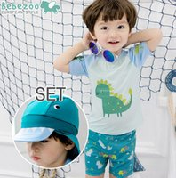 Cheap Bebezoo children swimsuit baby boys dinosaur printed short sleeve swimwear+Swimming trunks kids cute cartoon 2pcs sets swimsuit 7432