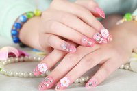 Wholesale Flower D False Nails Fake Full Nail Art Tips Acrylic Artificial UV Cosmetics