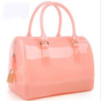 beach style pillows - Japan Korea style candy color bag crystal medium silicone handbag high quality waterproof beach solid shoulder bags