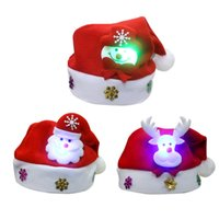 Wholesale 2016 Christmas Children Hats high quality Christmas Decorations Party Led Flash hats For Children New Year Gift