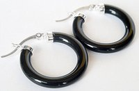 agate hoop earrings - Cheap New Charming sterling silver With Black Agate Hoop Earrings