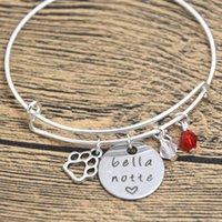 bella charm bracelet - 12pcs Valentine s Day Bracelet Bella Notte bangles Silver tone crystals Valentine s Day Gift Dog Lover True Love